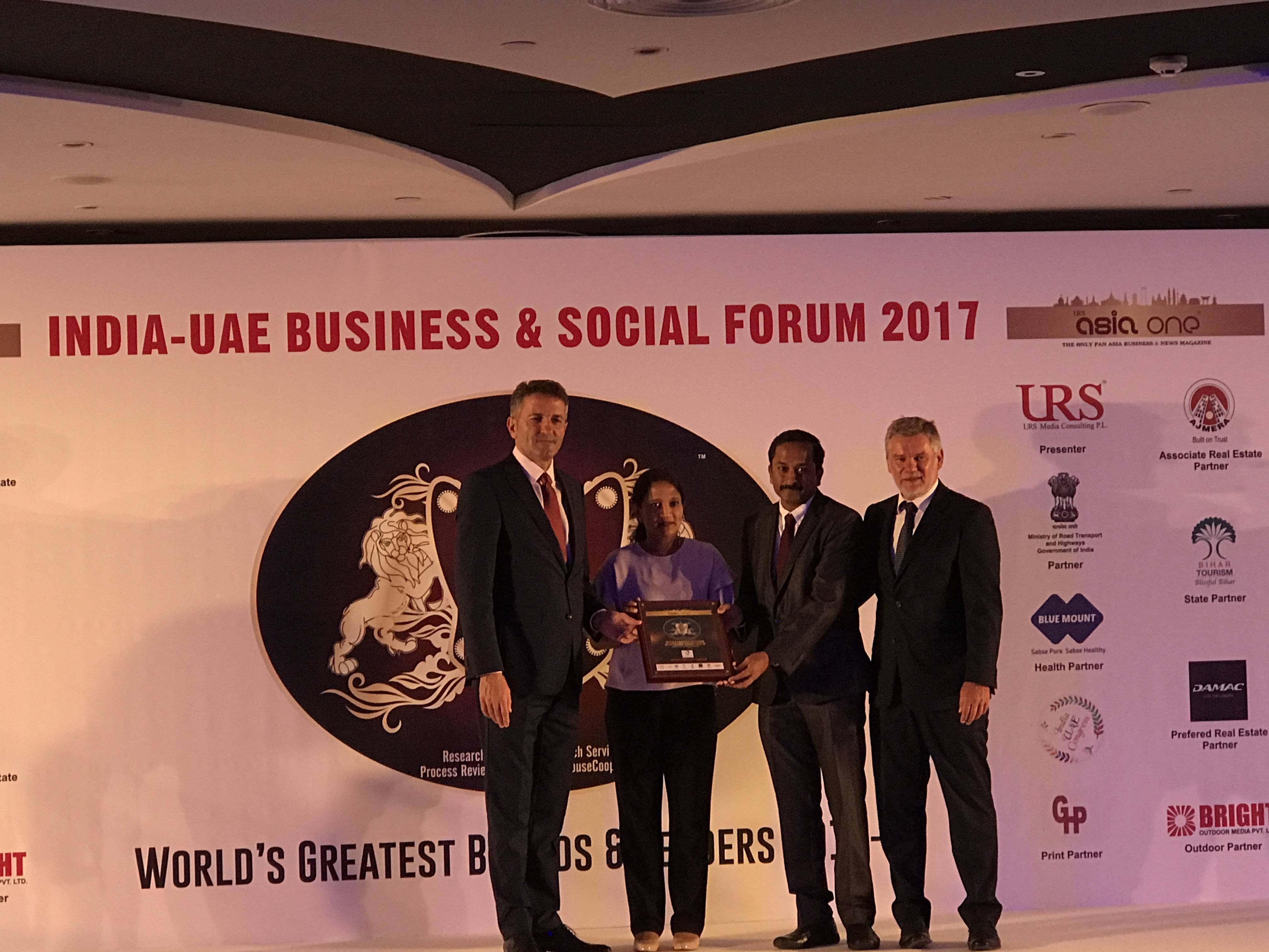 Aspire is recognized as India's most fastest growing brand16-17 Asia One magazine & URS Media Consulting PL, India–UAE Business & Social Forum – 2017.